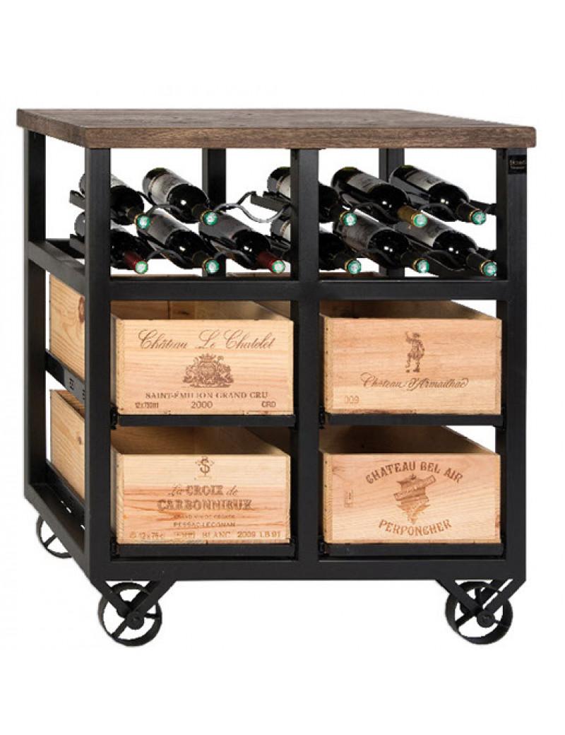 Шкаф на 4 ящика с держателем винных бутылок на колесах Hobbs Wine Rack 4 drawer W
